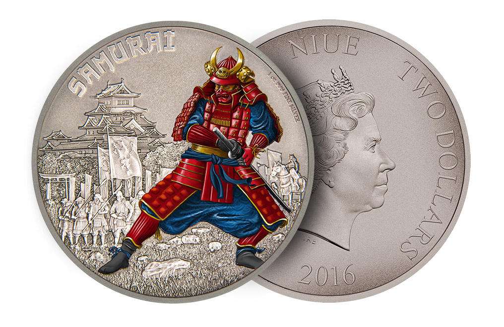 Buy 1oz Silver Coin Warriors of History-Samurai .999, image 2