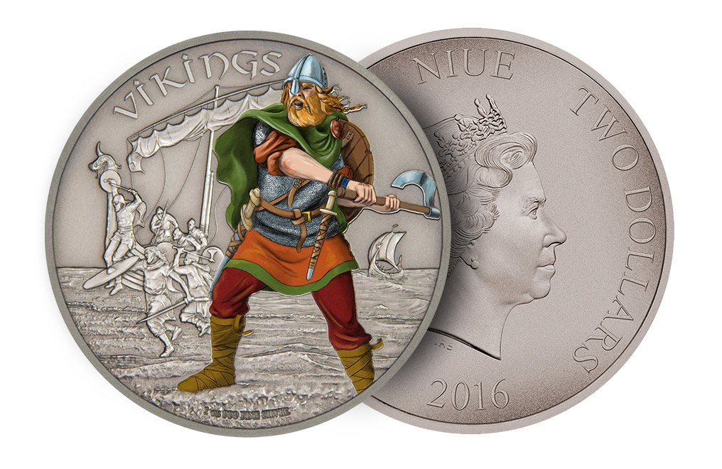 Buy 1oz Silver Coin Warriors of History-Vikings .999, image 2
