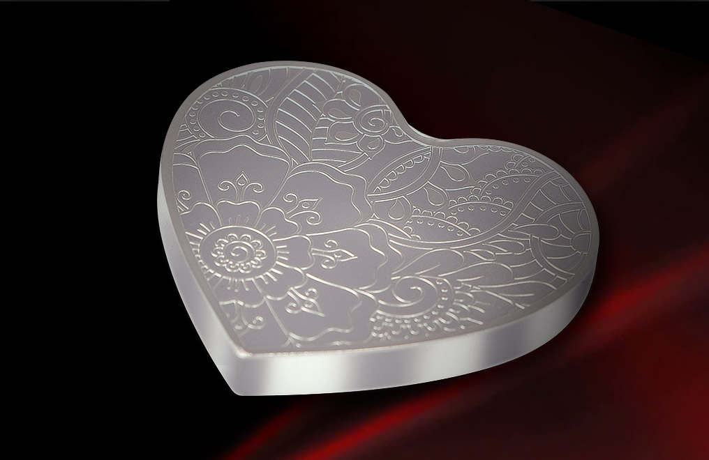 Buy 2 oz Pure Silver Heart Medallion .999, image 0