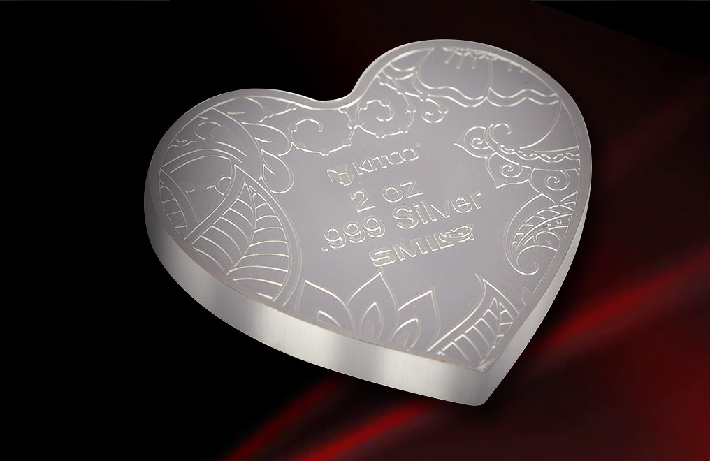 Buy 2 oz Pure Silver Heart Medallion .999, image 1