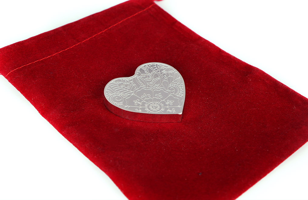 Buy 2 oz Pure Silver Heart Medallion .999, image 3