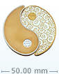 2 oz Pure Silver Yin Yang Round - 24k Gold Plated