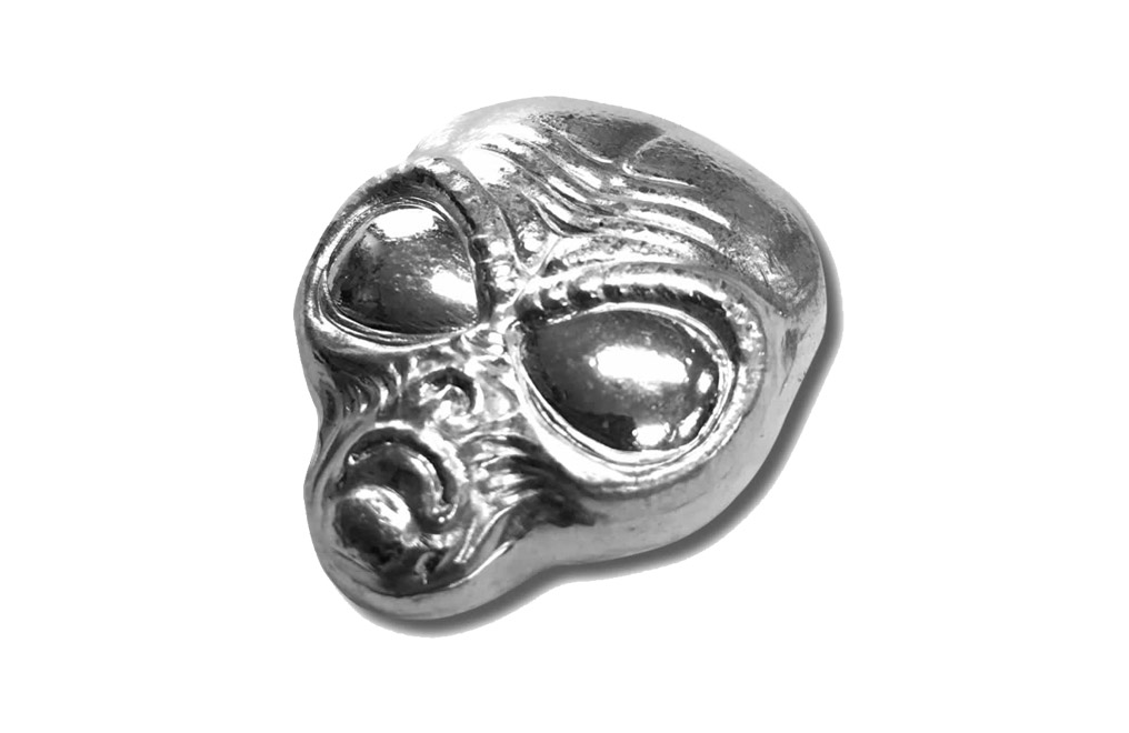 Buy 2 oz Silver Bar.999 - 3D Alien Head, image 2