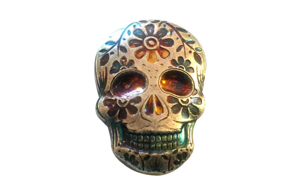 Buy 2 oz Silver Bar .999 - 3D Skull - Day of the Dead - Marigold, image 0