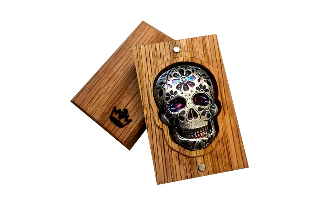 Buy 2 oz Silver Bar .999 - 3D Skull - Day of the Dead - Marigold, image 2