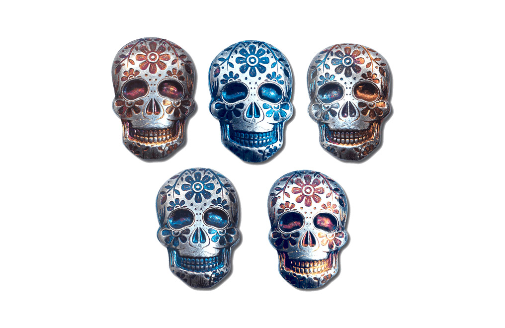 Buy 2 oz Silver Bar .999 - 3D Skull - Day of the Dead - Marigold, image 3