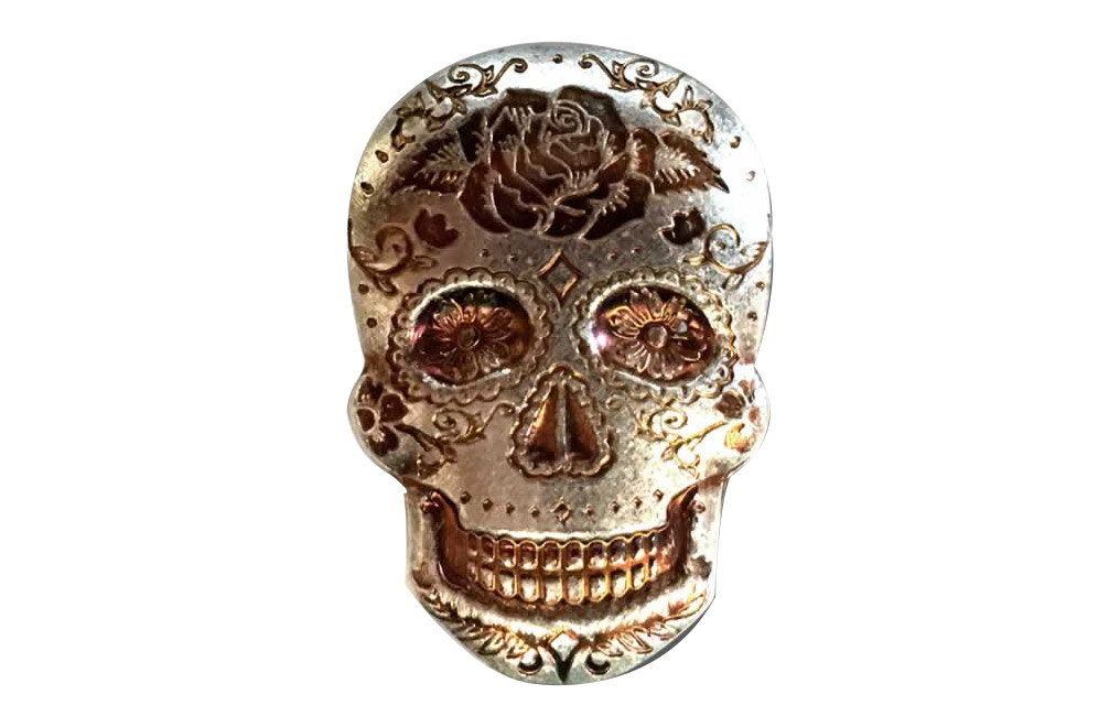 Buy 2 oz Silver 3D Skull Day of the Dead Rose Bar, image 0