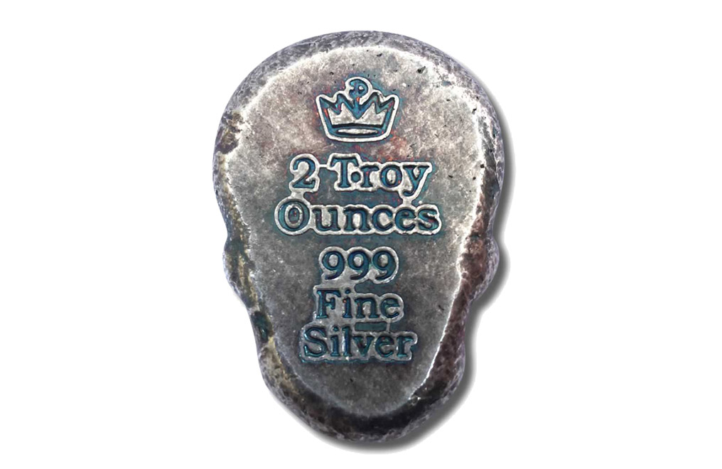 Buy 2 oz Silver 3D Skull Day of the Dead Rose Bar, image 2