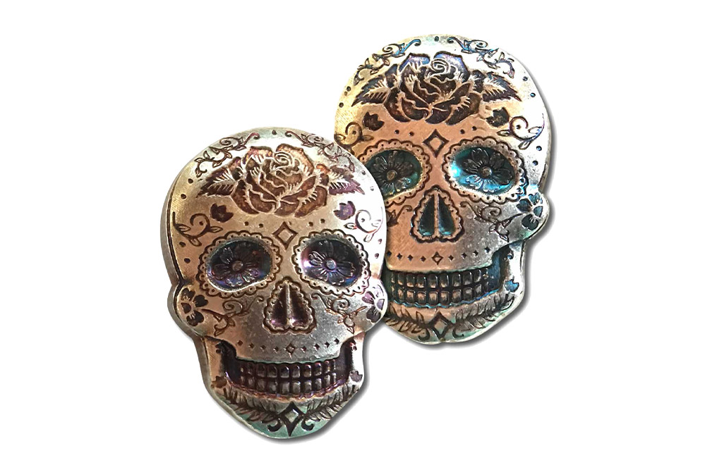 Buy 2 oz Silver 3D Skull Day of the Dead Rose Bar, image 4