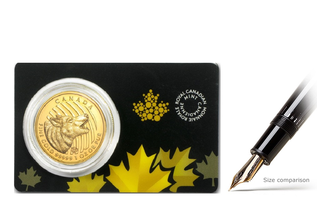 Buy 2014 1 oz Canadian Gold Howling Wolf Coins, image 0