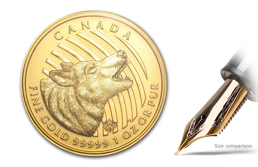 Buy 2014 1 oz Canadian Gold Howling Wolf Coins, image 2