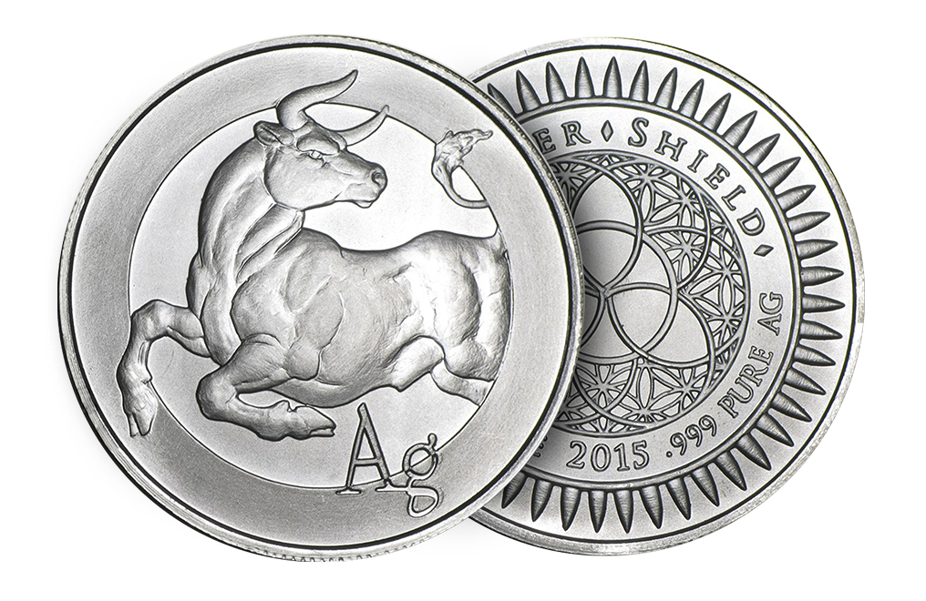 Buy 1 oz Silver ''Bull''-Silver Shield Round .999 (Random Year), image 2