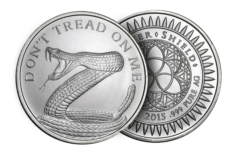 Buy 1 oz Silver ''Don't Tread On Me''- Silver Shield BU Round .999 (Random Year), image 2