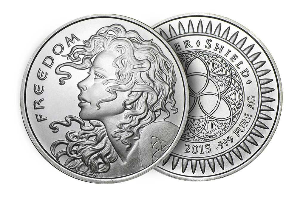 2015 1 oz Silver ''Freedom Girl''-Silver Shield BU Round .999, image 2