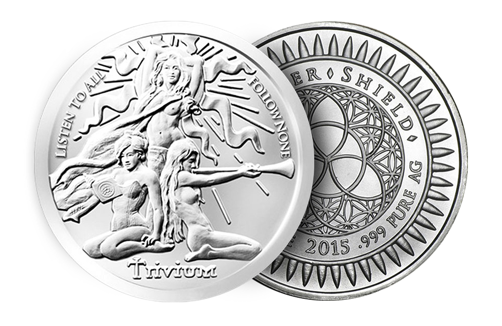 Buy 1 oz Silver Trivium Girls Silver Shield BU Round .999 (Random Year), image 2