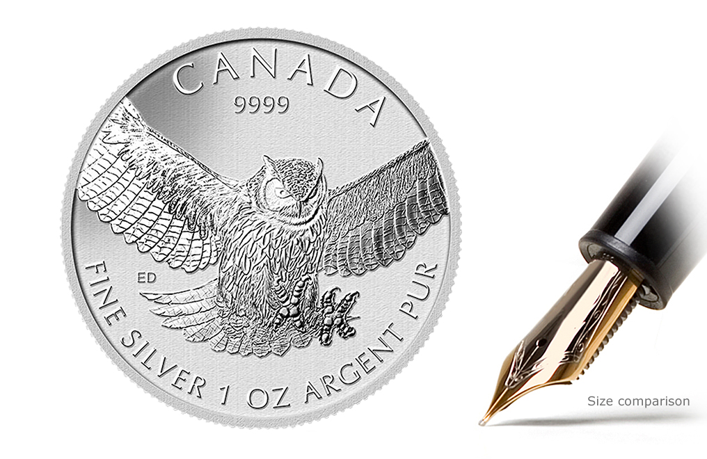 Sell 2015 1 oz Silver Great Horned Owl Coins - Canadian Birds Of Prey Series Coin, image 0