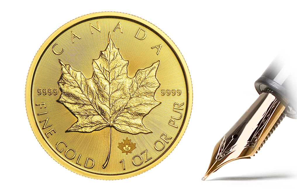 Buy 2019 MintFirst 1 oz Gold Maple Leaf Coins (tube of 10), image 2