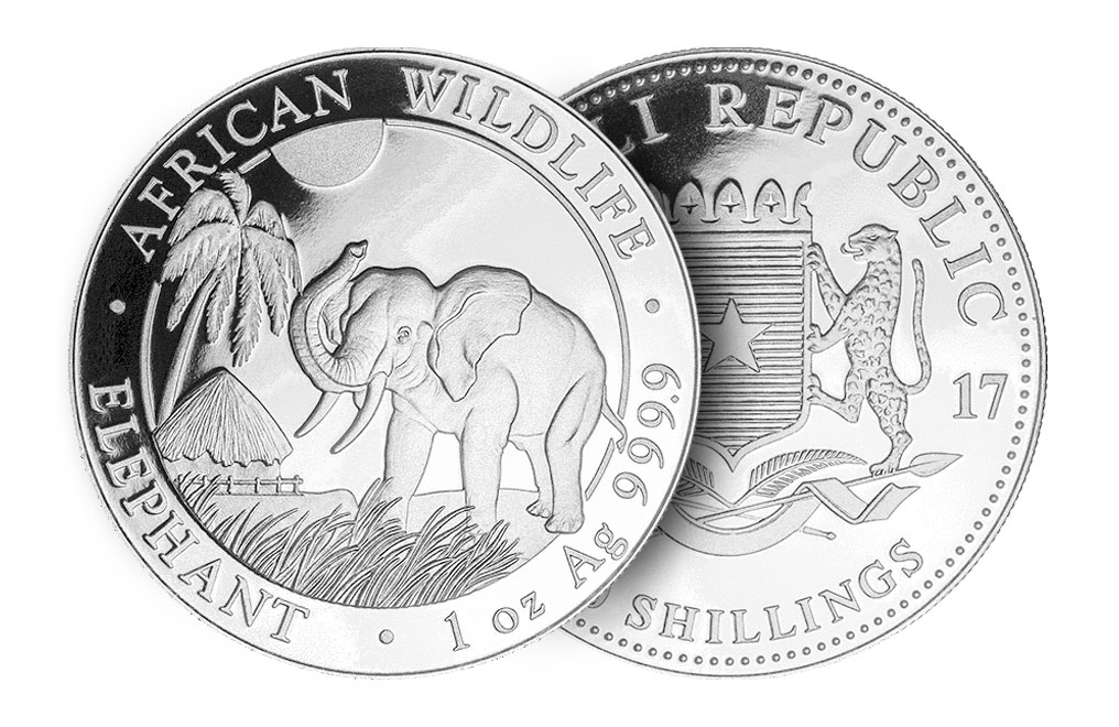 2017 1 oz Silver Somalian African Elephant Coin, image 2