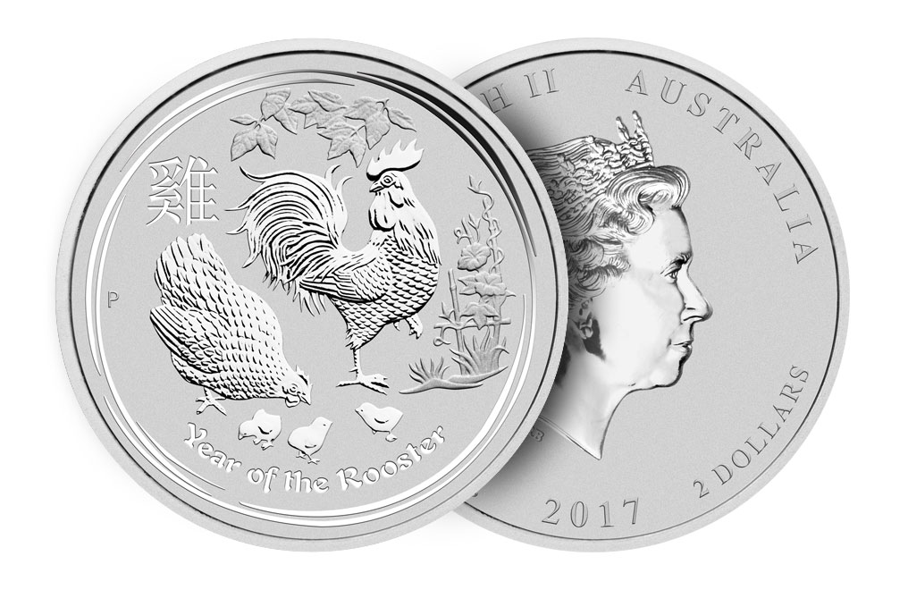 2017 2 oz Silver Australian Lunar Rooster Coin .9999, image 2