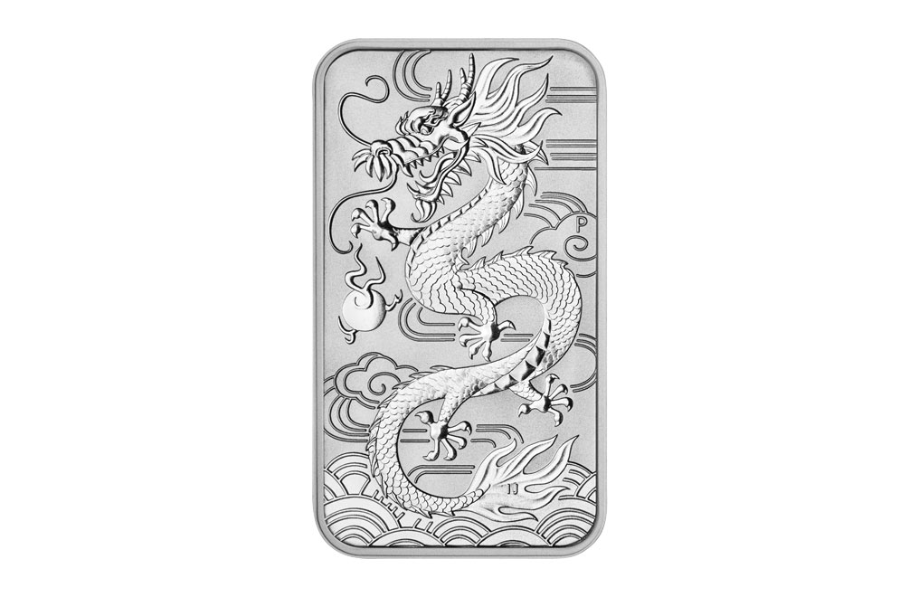 Sell 2018 1 oz Silver Australian Dragon Rectangular Coin, image 0