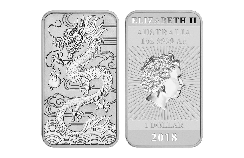 Sell 2018 1 oz Silver Australian Dragon Rectangular Coin, image 2