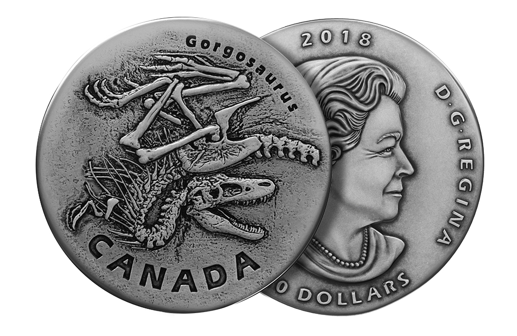 Buy 2018 1 oz Silver Coin .9999 - Ancient Canada: Gorgosaurus, image 2
