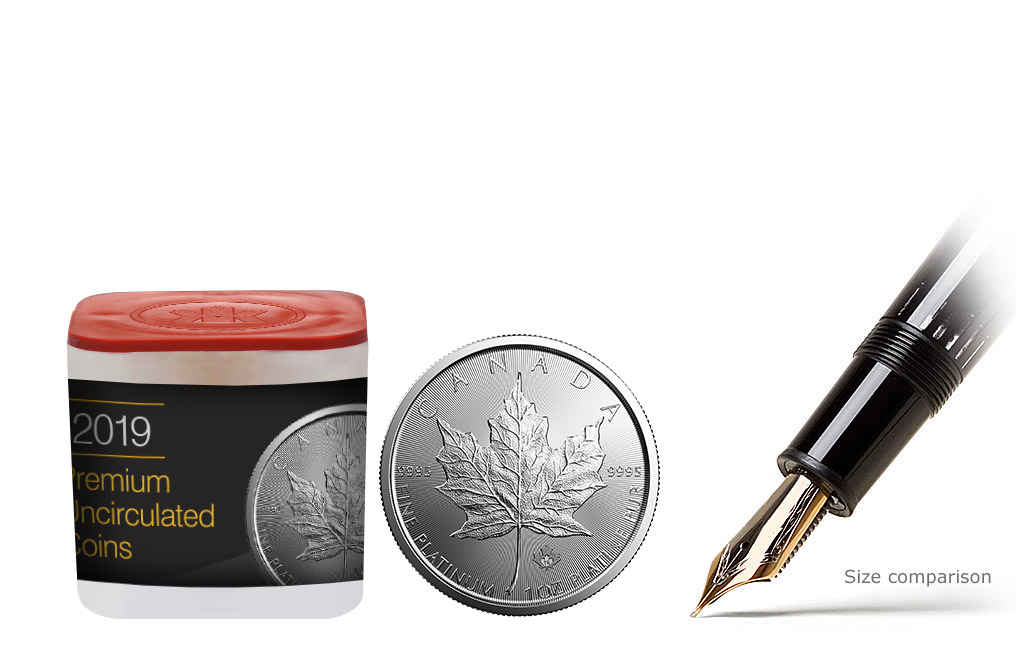 Buy 2019 MintFirst™ 1 oz Platinum Maple Leaf Coins (tube of 10), image 0