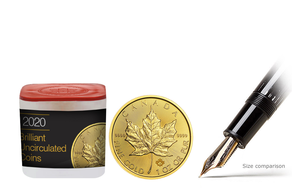 Buy 2020 MintFirst™ 1 oz Gold Maple Leaf Coins (tube of 10), image 0