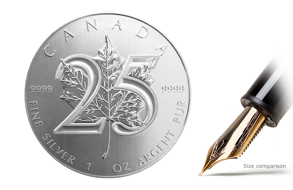 25th Anniversary 1 oz Silver Canadian Maple Leaf Coin, image 0