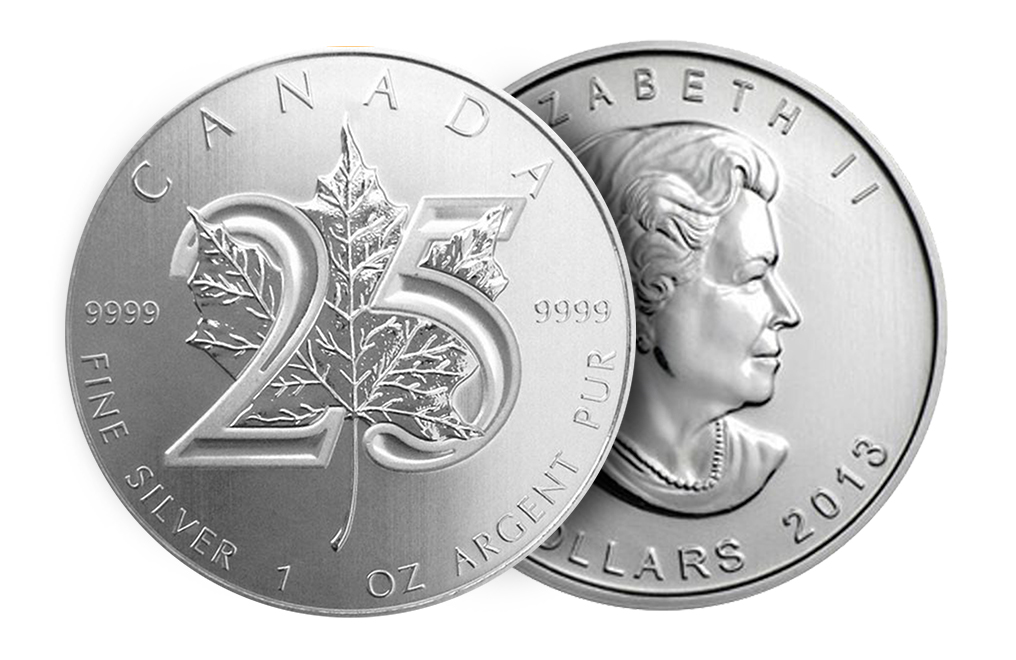 25th Anniversary 1 oz Silver Canadian Maple Leaf Coin, image 2
