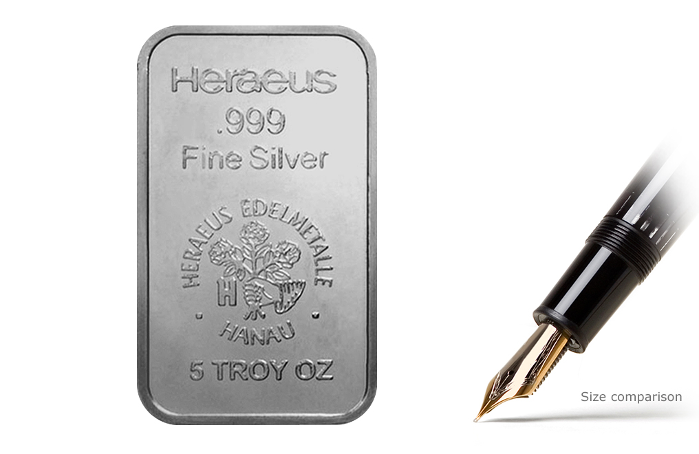 Buy 5 Oz Silver Heraeus Bars Buy Silver Bars Kitco