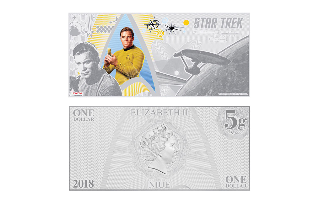 Buy 5 g Silver Coin Note .999 - Star Trek - Captain Kirk, image 1