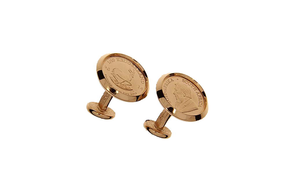 Buy Men's Gold Cufflinks - 1/10th oz Gold Krugerrand (various years), image 0