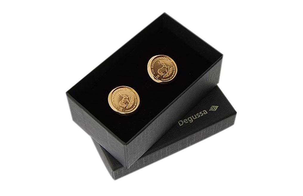 Buy Men's Gold Cufflinks - 1/10th oz Gold Krugerrand (various years), image 1