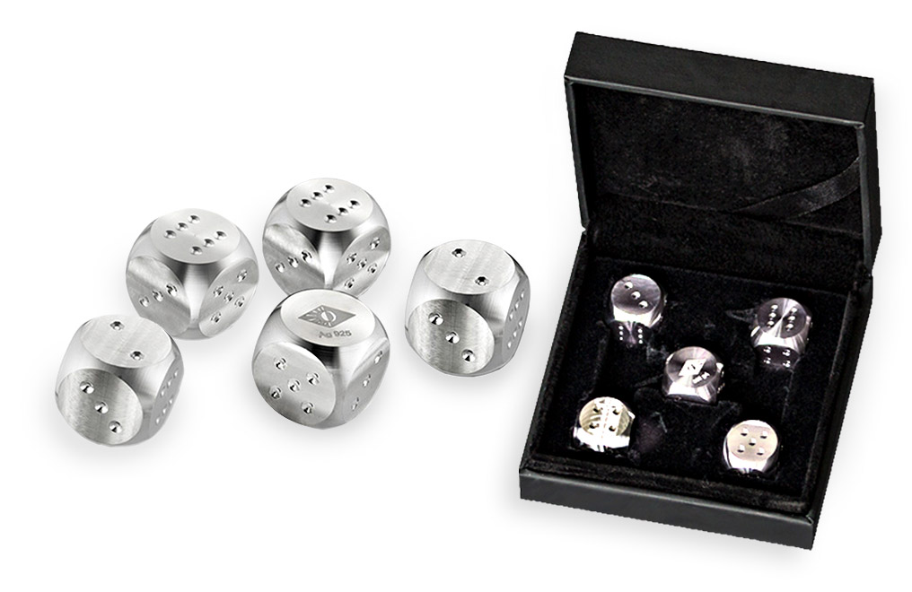 Buy 5-Piece Silver Dice Set (.925 fineness), image 0