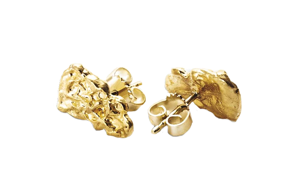 Buy 2.5 gram Pure Gold Nugget Earrings, image 0