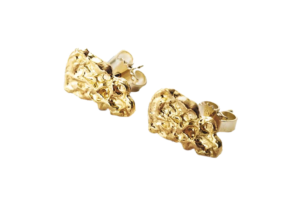 Buy 2.5 gram Pure Gold Nugget Earrings, image 1