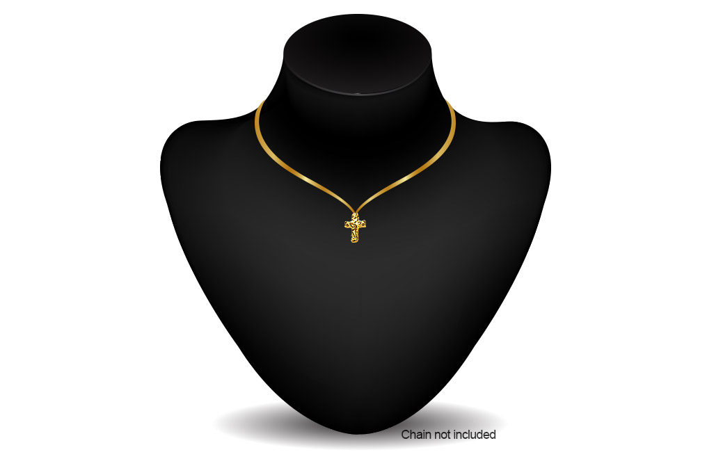 Buy Gold Cross Nugget Pendant .999, image 2