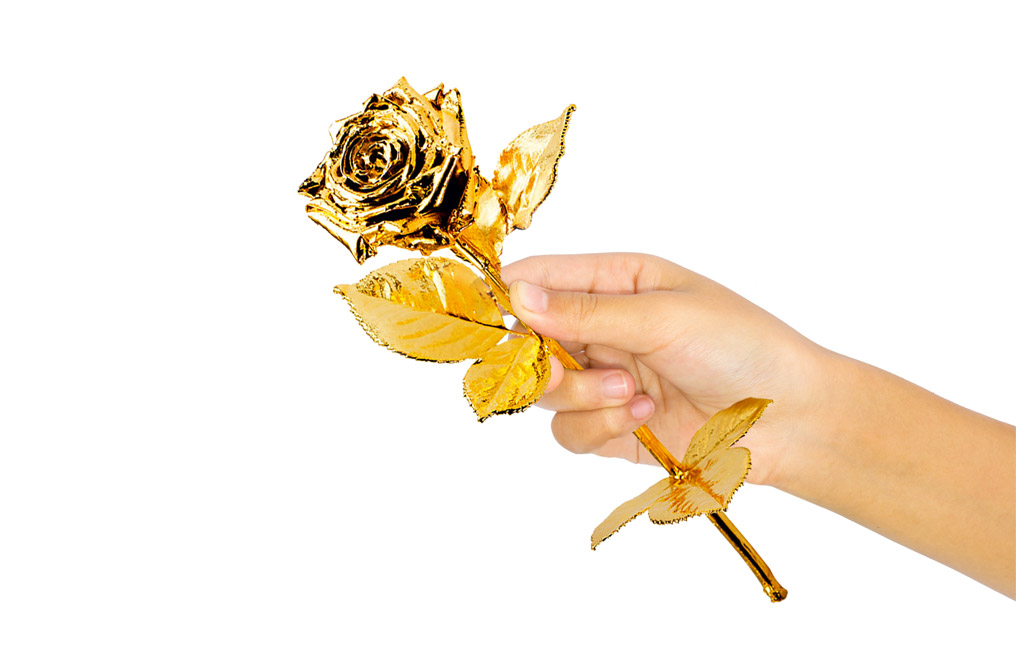 Buy Gold Plated Roses - Real Long Stemmed 40 cm, image 1