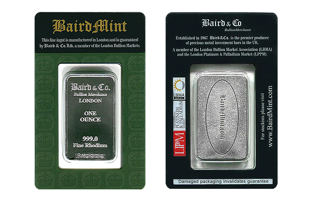 Buy 1 oz Rhodium Bars Baird & Co., image 2