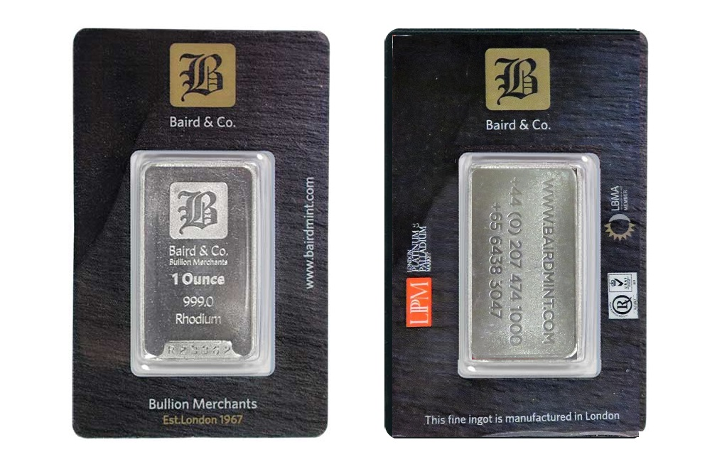 Buy 1 oz Rhodium Bars Baird & Co., image 3