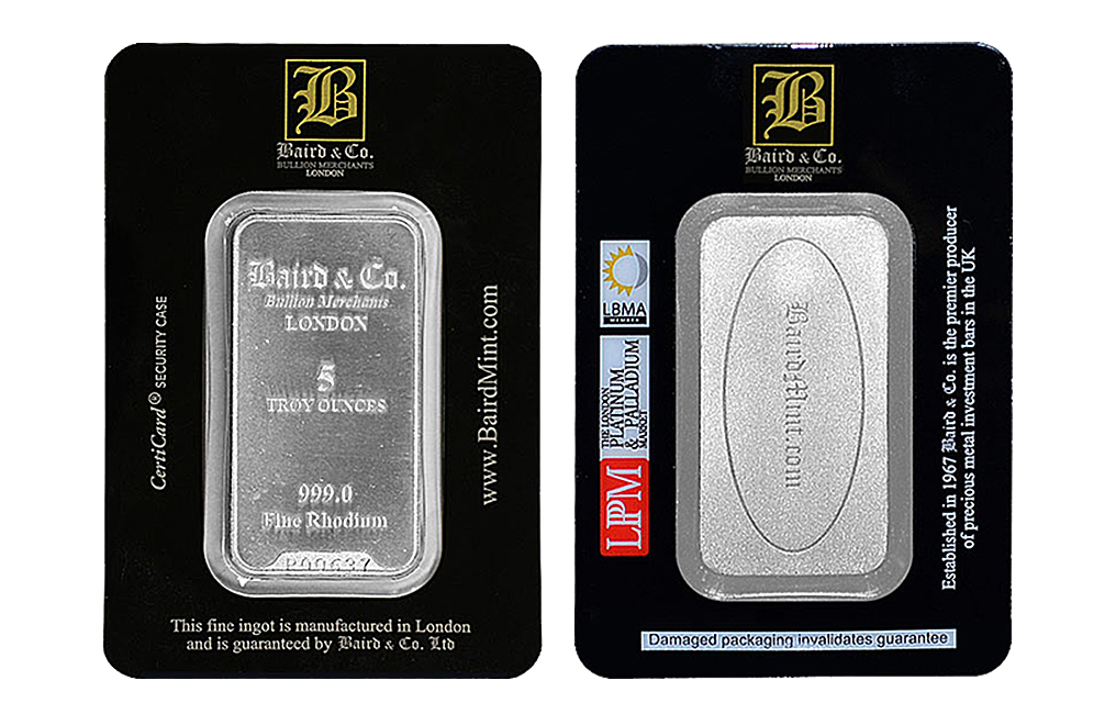 Sell 5 oz Rhodium Baird & Co. Bar, image 2