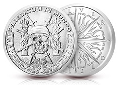 1 oz PRAEDATUM IN MUNDO Pieces of Eight Silver Shield BU rounds.999 fine silver