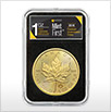 One ounce Canadian Maple gold coin in capsule for Kitco's exclusive MintFirst collection
