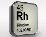Silver square of Rhodium showing element 45 atomic weight 102.90550
